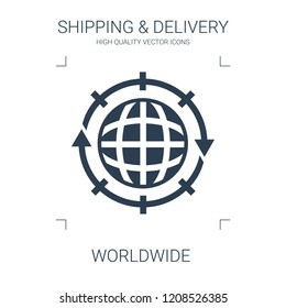 worldwide icon. high quality filled worldwide icon on white background. from shipping delivery collection flat trendy vector worldwide symbol. use for web and mobile