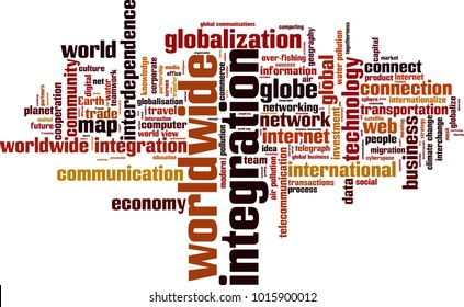 Worldwide integration word cloud concept. Vector illustration