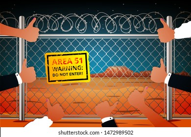 Worldwide interest in zone 51. Area 51 in Nevada behind barbed wire with a sign of danger not to enter. Vector illustration in cartoon style