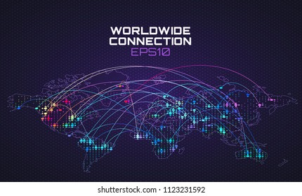 Worldwide internet social communication. Data stream trajectory, cloud computing abstract background. Global network