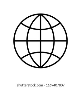 Worldwide line icon isolated on white background. Outline thin network technology vector.