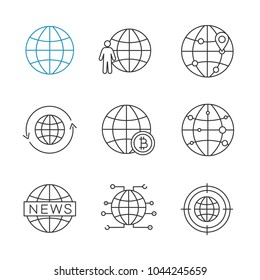 Worldwide linear icons set. Globe, planet population, route, around the world, global bitcoin, internet connection. Thin line contour symbols. Isolated vector outline illustrations. Editable stroke