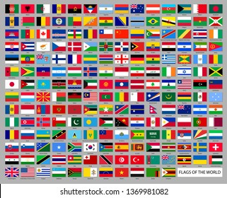 Worldwide national flags set. All world countries flags in flat style isolated on grey background. Patriotic and diplomatic symbols vector illustration. Official and political identity.