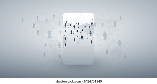 Worldwide Networks - Modern Style Global Business Connections and Social Media Concept Design with Map and Smartphone Silhouette