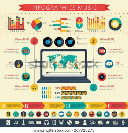 Worldwide nostalgic retro music apps users statistics map and schemas infographic presentation poster abstract flat vector illustration
