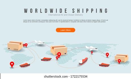 worldwide shipping by air and sea fright transport. transportation route. geo tagging. modern dot world map with coy space concept illustration.