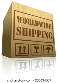 worldwide shipping cardboard box for order delivery or shipment orf order from internet web shop, online shopping icon for webshop