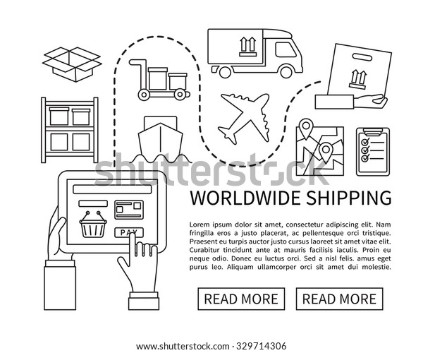 Worldwide Shipping Delivery Online Shopping Flat Stock