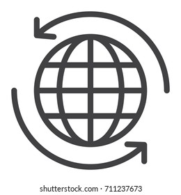 Worldwide Shipping line icon, outline vector sign, linear style pictogram isolated on white. Symbol, logo illustration. Editable stroke.Pixel perfect graphics