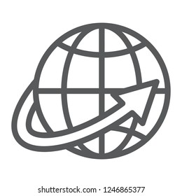Worldwide shipping line icon, world and transportation, planet sign, vector graphics, a linear pattern on a white background, eps 10.