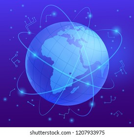 Worldwide Telecommunications Realistic Vector Concept with Planet Earth Globe Girded Communication Space Satellites Trajectories, International Airlines Airways, Digital Information Virtual Streams