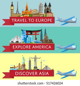 Worldwide travel horizontal flyers. Plane with banner and famous architectural attractions. Travel to Europe. Discover Asia. Explore America. Time to travel idea. Worldwide air traveling.