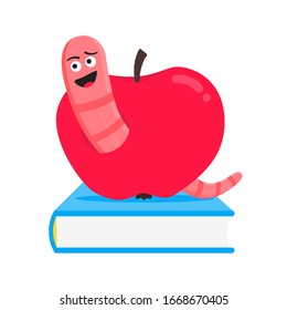 Worm with apple cartoon character icon sigh. Worm with face expression smilling pop up above the apple standing on the books flat style design vector illustration. Crawling animal creature.