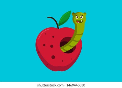 Worm in an apple - flat design