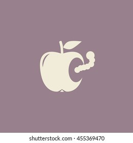 Worm in apple, vector icon