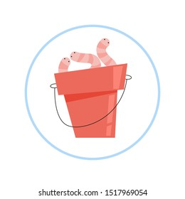 Worm in the bucket, fishing bait. Crawler bug, insect. Isolated flat vector illustration