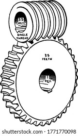 A worm drive is a gear arrangement in which a worm meshes with a ear. Shown here is a typical representation, ratio 35 to 1. vintage line drawing or engraving