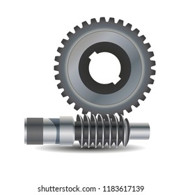 Worm drive. Vector diagram. Protrusion on the gear wheel enter the Worm shaft to form a gearing system. Worm shaft is a