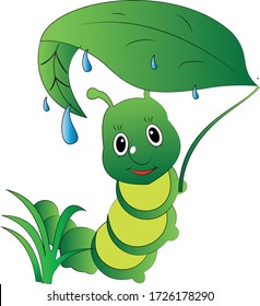 Worm with leaf in rain a design suitable for fabric print or other use. Colour can be edit with editable files. vector illustration design, for children, mascot cartoon image.