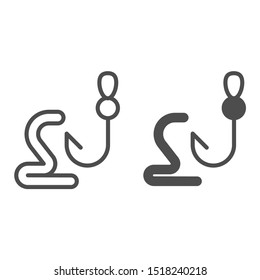 Worm on the hook line and glyph icon. Fishing bait vector illustration isolated on white. Tackle on hook outline style design, designed for web and app. Eps 10