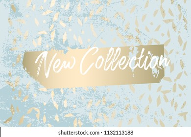 Worn Marble Gold and Pastel advertising background. Fashion artistic template for new collection sign board or sale banner design. Trendy chic and vintage old textures