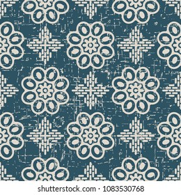 Worn out antique seamless background Round Curve Cross Frame Flower, Ideal for wallpaper decoration or greeting card design template.