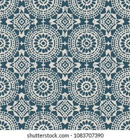 Worn out antique seamless background Round Cross Dot Line Frame Flower, Ideal for wallpaper decoration or greeting card design template.