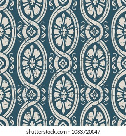 Worn out antique seamless background Oval Spiral Curve Cross Vine Flower, Ideal for wallpaper decoration or greeting card design template.