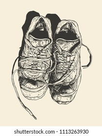 Worn-out Old Sneakers. engraving style. vector illustration.