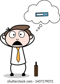 Worried About the File - Office Businessman Employee Cartoon Vector Illustration