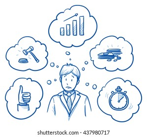 Worried business man, with icons of requirement and goals around him: growth, legal, profitable, fast, satisfying. Concept for good work or employee. Hand drawn line art cartoon vector illustration.