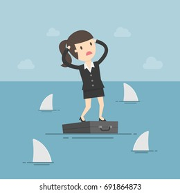 Worried Business Woman Standing On Briefcase In The Sea And Surrounded By Sharks. Business Concept Cartoon Illustration. Risk, Crisis.