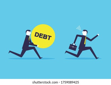 Worried businessman running away from his debt collector. Financial problem. Flat design style vector concept