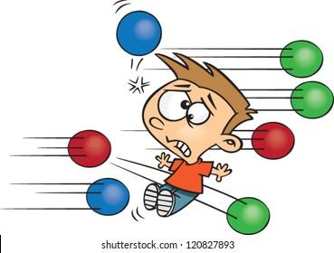 worried cartoon boy playing dodge ball