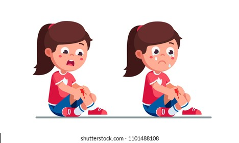 Worried and crying preschool girls kids holding painful wounded leg knee scratch with blood drips. Bleeding knee injury pain. Child cartoon characters childhood kids injury. Flat vector illustration