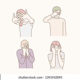 Worried or embarrassed people covering face with hands. Hand drawn style vector design illustrations.