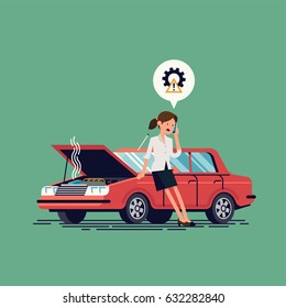 Worried female driver calling roadside assistance to help with breakdown car vector illustration. Flat concept design on woman standing next to broken car with open hood talking on mobile phone