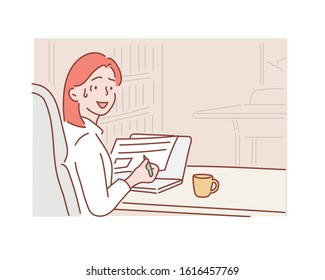 Worried frustrated woman shocked by bad news or rejection reading letter, stressed girl troubled with financial problem. Hand drawn style vector design illustrations.
