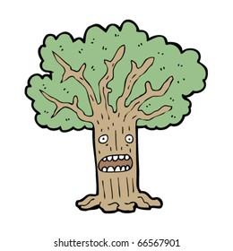 worried tree cartoon