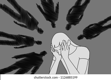 Worried, unhappy, suffering woman.  Shyness, bullying and other social problems concept with intimidated, concussed person. Vector illustration.