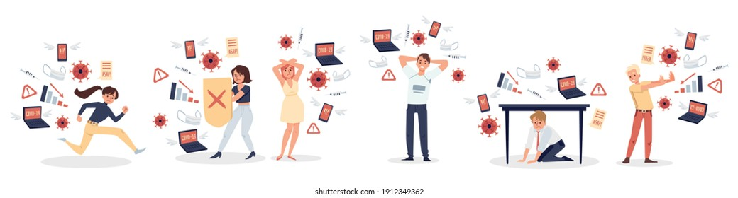Worried upset people characters feeling stress of information overload, flat vector illustration isolated on white background. Banner with modern stressed people.