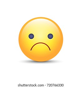 Worried vector cartoon emoji. Frustrated, distressed, disappointed, angry, sad emoticon mood. Unhappy smiley. Frowning Face.