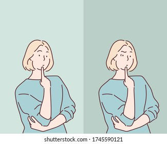 worried woman. Hand drawn style vector design illustrations.