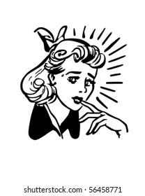 Worried Woman - Retro Clip Art