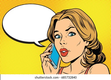 worried woman talking on the smartphone. Pop art retro comic book vector illustration