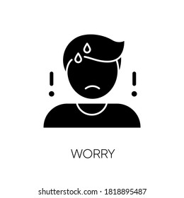 Worry black glyph icon. Emotional stress, anxiety silhouette symbol on white space. Concerned, nervous mental state. Bad feeling, trouble reaction. Worried, anxious person vector isolated illustration