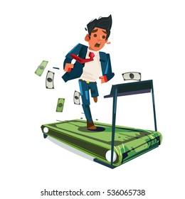worry businessman running on money treadmill .run out of money. money trap. Salaryman life - vector illustration