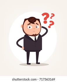 Worry confused office worker businessman character thinking. Vector flat cartoon illustration