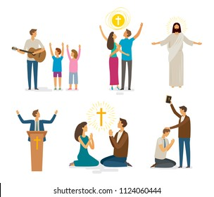 Worship, prayer, faith icon set. Religion concept. Vector illustration