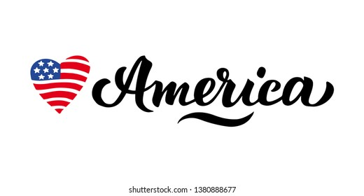 Wort America and the American flag in Heart. Patriotic Poster with handwritten letters on the day of remembrance, the fourth of July Great print for clothes, t shirt design. Postcard Independence Day
